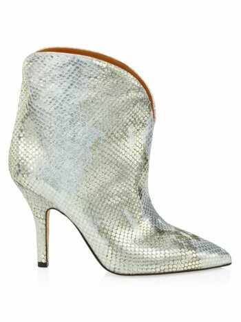 Metallic Python-Embossed Leather Ankle Cowboy Boots