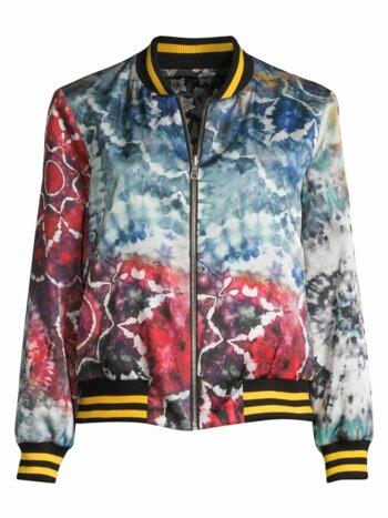 Lonnie Reversible Oversized Floral Tie Dye Bomber Jacket