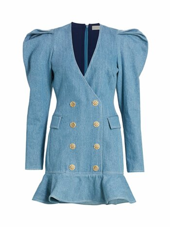 Carla Puff-Sleeve Denim Blazer Dress