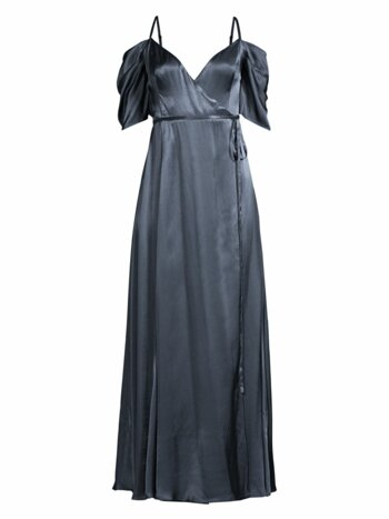 The Mavis Cold-Shoulder Long Wrap Dress