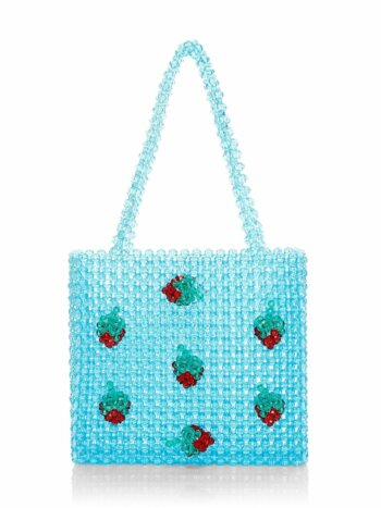 Strawberry Appliqué Beaded Tote