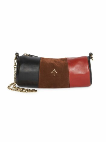 Mini Colorblock Leather & Suede Cylinder Shoulder Bag