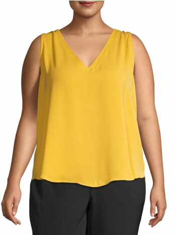 Plus Sleeveless V-Neck Top