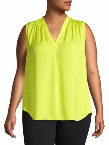 Plus V-Neck Sleeveless Top