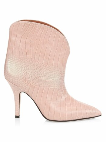 Croc-Embossed Iridescent Leather Ankle Boots
