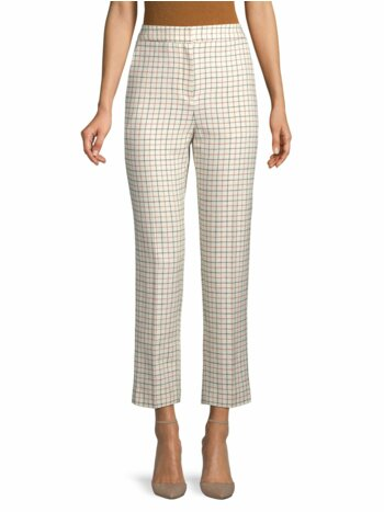 Tattersall-Print High-Waist Pants