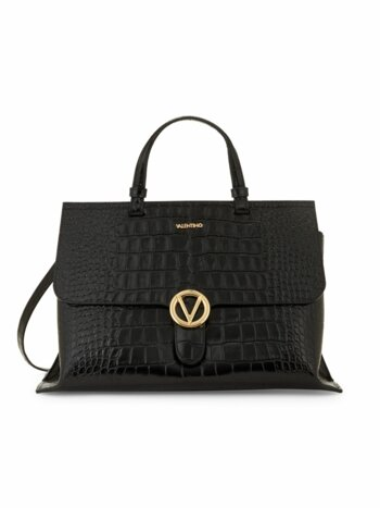 Olimpia Croc-Embossed Leather Top Handle Bag