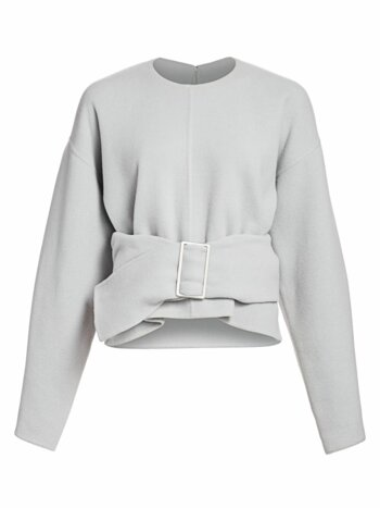 Belted Wool Blend Oversized Sweater