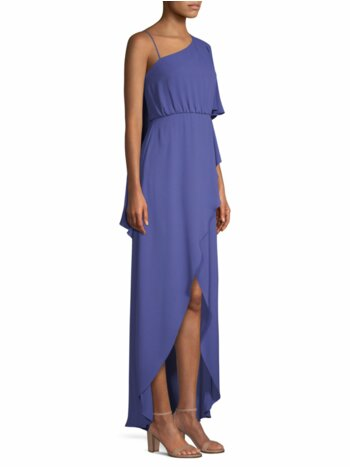 Draped One-Shoulder High-Low Dress