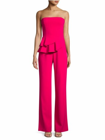 Ruffled Strapless Wide-Leg Jumpsuit