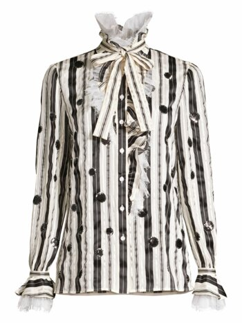 Stripe Bow Sequin Dot Stretch-Silk Blouse