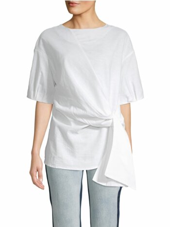 Knotted Front Cotton & Linen Blend Top