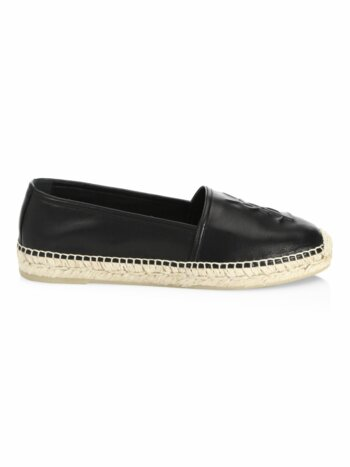 YSL Logo Leather Espadrilles