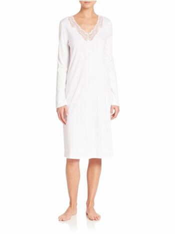 Valencia Lace-Trimmed Long-Sleeve Cotton Gown