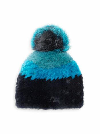 Savage Love Striped Mink & Fox Fur Pom-Pom Beanie