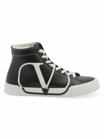 Leather Shearling High-Top Sneakers