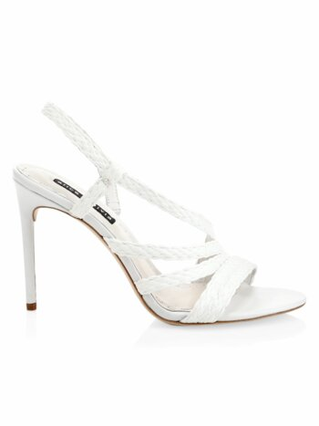 Fanniey Strappy Raffia Stiletto Slingback Sandals