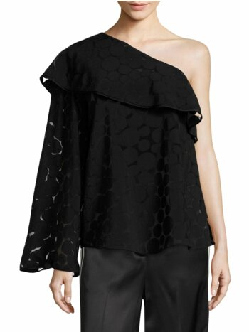 One-Shoulder Ruffle Front Top