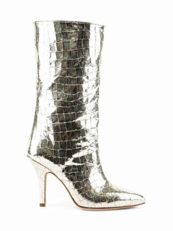 Metallic Croc-Embossed Leather Mid-Calf Boots