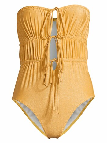 The Paula Ruched Tie-Front One-Piece Swimsuit