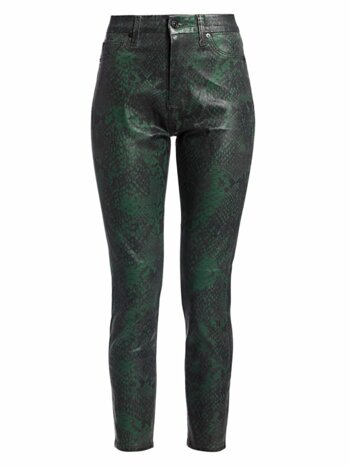 Snake Print High-Rise Skinny Ankle Jeans