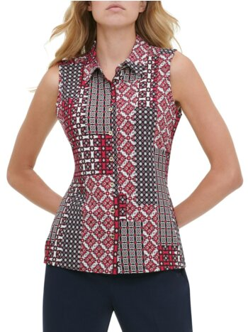 Printed Sleeveless Button-Front Shirt