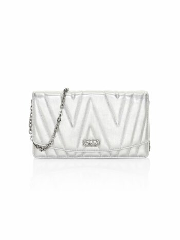 Emelie Quilted Metallic Leather Clutch