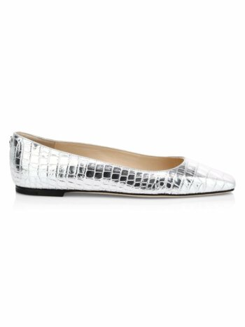 Mirellle Croc-Embossed Metallic Leather Flats