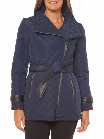 Quilted Asymmetrical-Zip Jacket