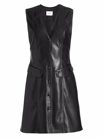 Menphi Sleeveless Vegan Leather A-Line Shirtdress