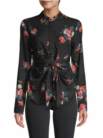 Sanctuary Knotted-Waist Floral Blouse
