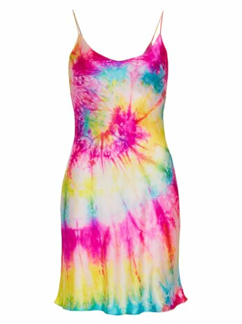 Neon Tie Dye Silk Mini Dress