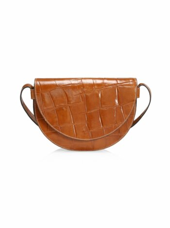 Amal Croc-Embossed Leather Shoulder Bag