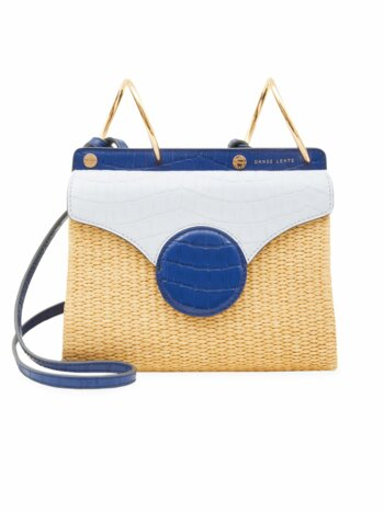 Mini Phoebe Folio Leather & Raffia Bag