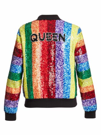 Queen Sequin Rainbow Bomber Jacket