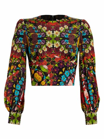 Quilla Floral Silk Crop Blouse