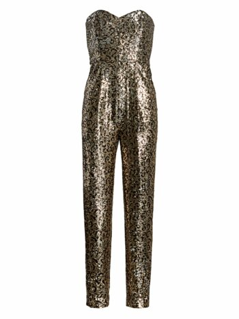 Sequin Leopard Strapless Jumpsuit