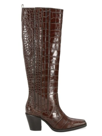 Western Knee-High Croc-Embossed Leather Boots