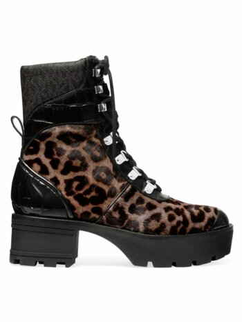 Khloe Shearling-Trimmed Leopard-Print Calf Hair & Patent Leather Combat Boots