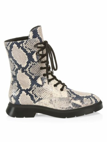 McKenzee Python-Embossed Leather Combat Boots