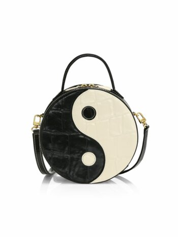Yin Yang Croc-Embossed Leather Crossbody Bag