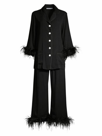2-Piece Black Tie Feather Trim Pajama Set