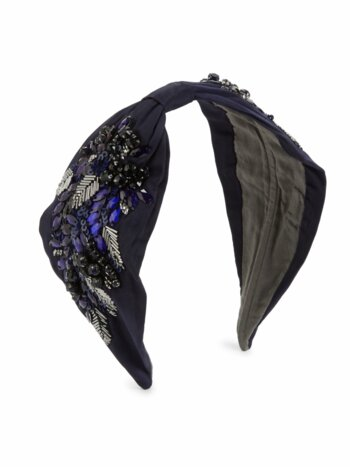 Multicolor Embellished Navy Knotted Headband