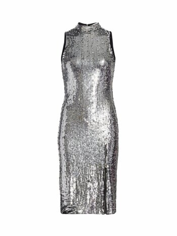 Malika Embellished Sequin Mockneck Dress