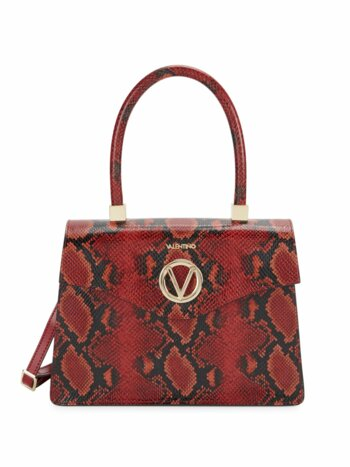 Melanie Python-Print Leather Top Handle Bag