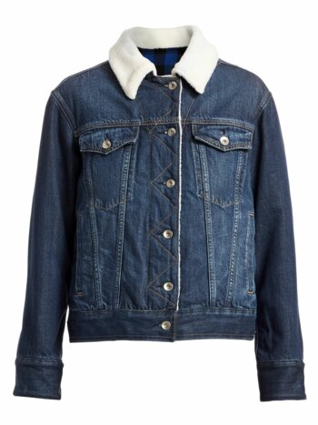 Chelsea Faux Fur Collar Denim Trucker Jacket
