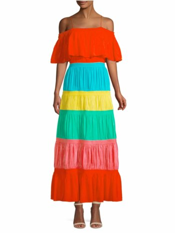Kia Smocked Rainbow Cold-Shoulder A-Line Dress