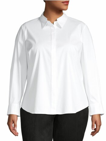 Plus Long-Sleeve Cotton-Blend Shirt