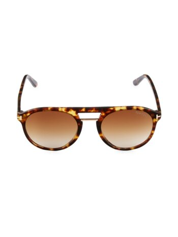 54MM Browline Round Sunglasses