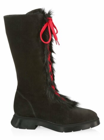 Gwendy Shearling-Lined Suede Lace-Up Knee-High Boots